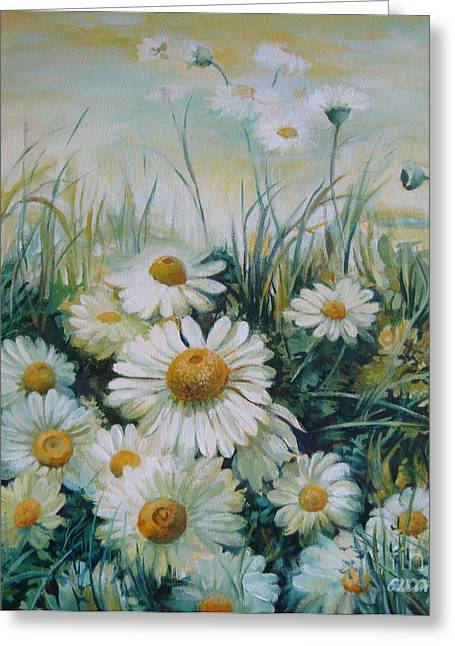 Win Paintings Greeting Cards - Field of flowers Greeting Card by Elena Oleniuc