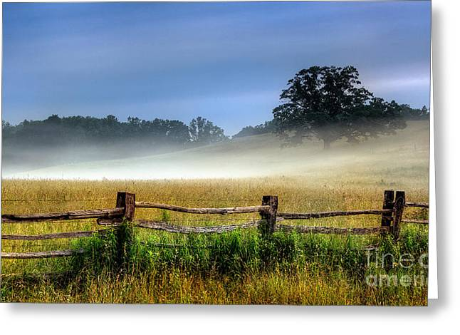 Pasture Framed Prints Greeting Cards - Field of Fog I - Blue Ridge Parkway Greeting Card by Dan Carmichael