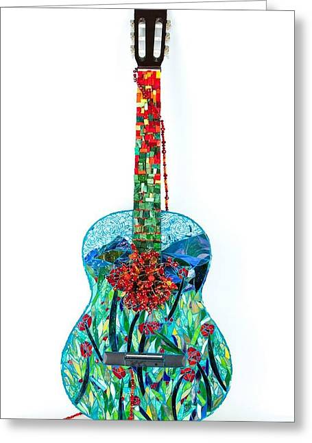 Glass Beads Glass Art Greeting Cards - Field of Poppies Guitar Greeting Card by Beverly Thomas Jenkins