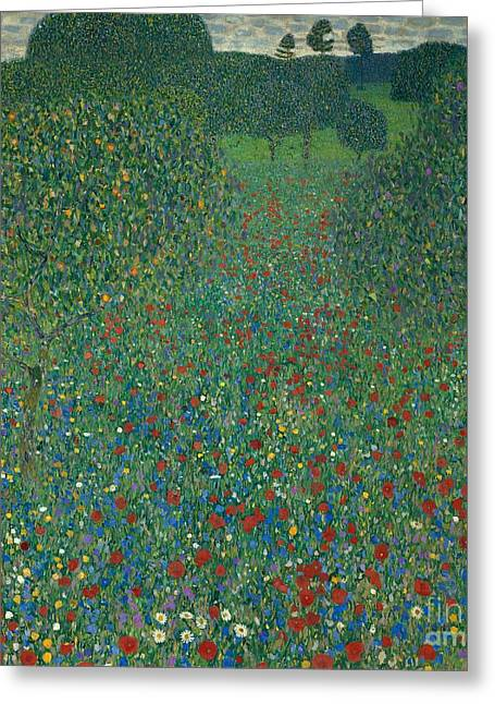 Contemporary Age Greeting Cards - Field of poppies Greeting Card by Gustav Klimt