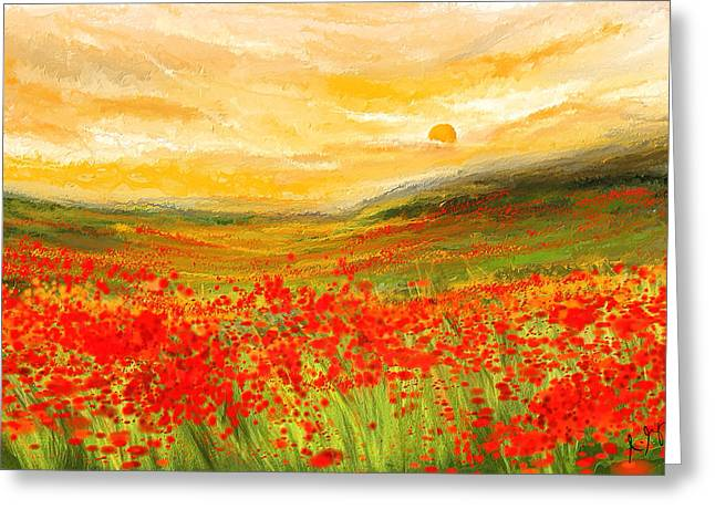 Veterans Memorial Paintings Greeting Cards - Field Of Poppies- Field Of Poppies Impressionist Painting Greeting Card by Lourry Legarde