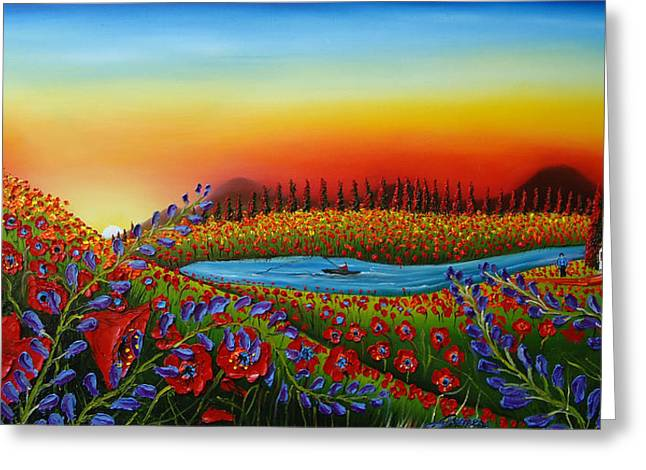 Field Of Red Poppies At Dusk 2 Greeting Card by Portland Art Creations