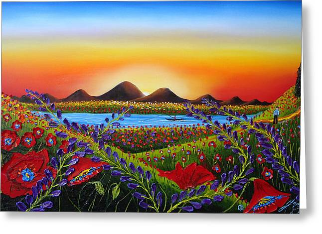 Field Of Red Poppies At Dusk 3 Greeting Card by Portland Art Creations