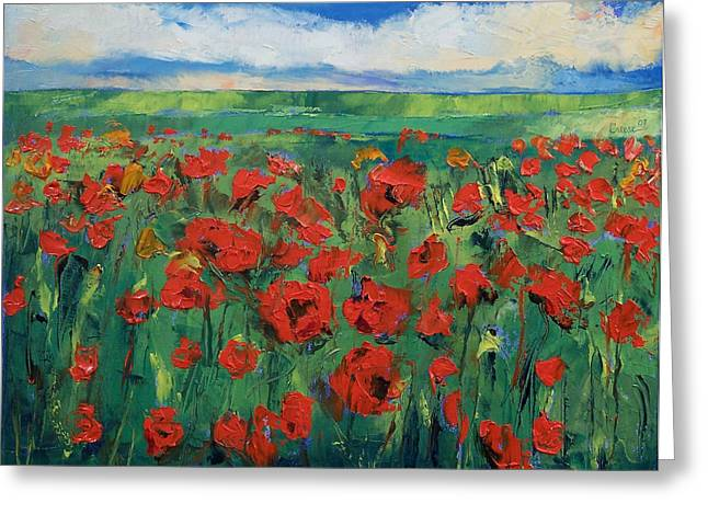 Field. Cloud Paintings Greeting Cards - Field of Red Poppies Greeting Card by Michael Creese