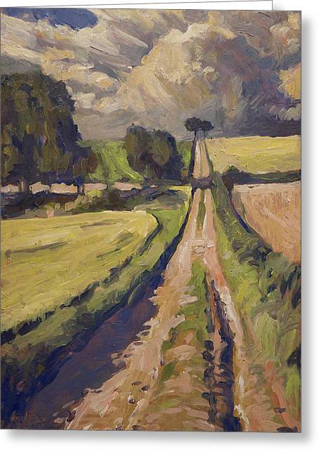 Limburg Paintings Greeting Cards - Field road near Elkenrade Greeting Card by Nop Briex