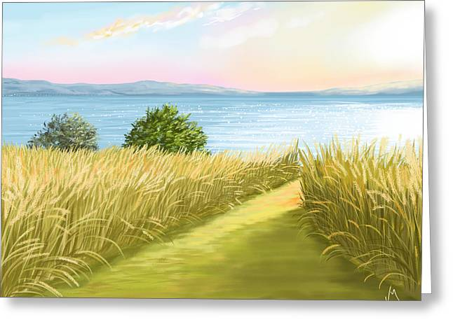 Sunset Seascape Greeting Cards - Field Greeting Card by Veronica Minozzi