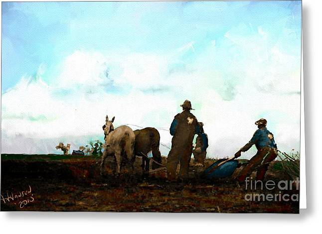 Agriculture Greeting Cards - Field Work Redeaux Greeting Card by Arne Hansen