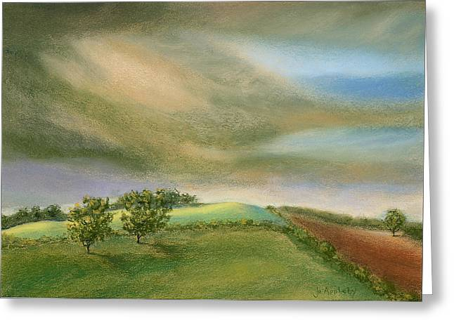Field. Cloud Pastels Greeting Cards - Fields in the sun Greeting Card by Jo Appleby