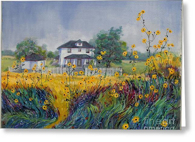 Indiana Paintings Greeting Cards - Fields of Black-Eyed Susans Greeting Card by Gedda Runyon Starlin