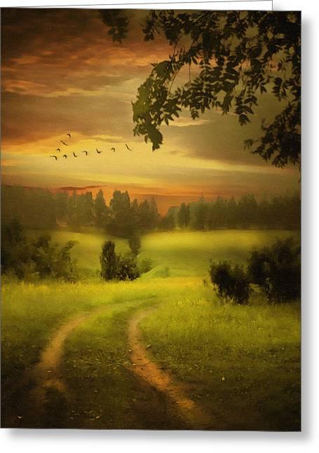 Hyper-realism Paintings Greeting Cards - Fields Of Dreams Greeting Card by Georgiana Romanovna