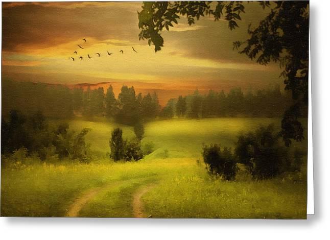 Hyper-realism Greeting Cards - Fields Of Dreams Greeting Card by Georgiana Romanovna