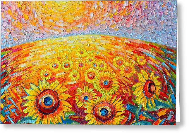 Purple Abstract Greeting Cards - Fields Of Gold - Abstract Landscape With Sunflowers In Sunrise Greeting Card by Ana Maria Edulescu