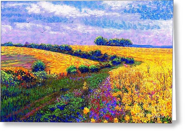 Garden Scene Greeting Cards - Fields of Gold Greeting Card by Jane Small