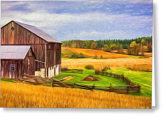 Photos Of Autumn Greeting Cards - Fields of Gold - Paint Greeting Card by Steve Harrington
