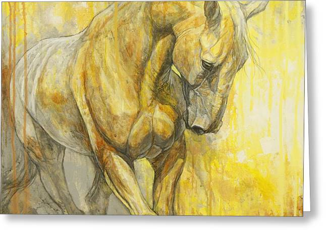 Horses Paintings Greeting Cards - Fields of Gold Greeting Card by Silvana Gabudean