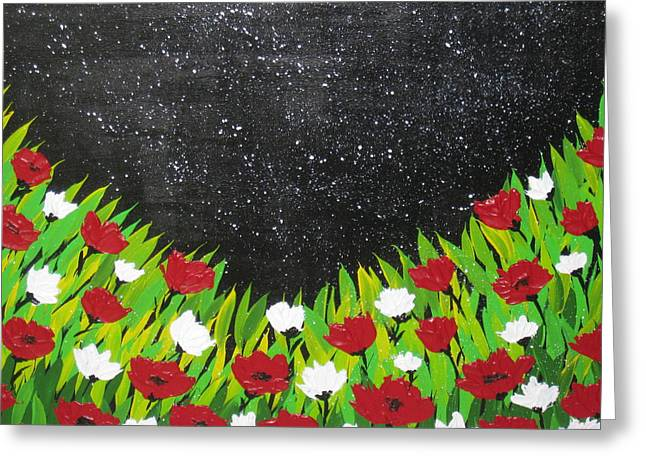 Catherine White Paintings Greeting Cards - Fields Of Joy 2 Greeting Card by Cathy Jacobs