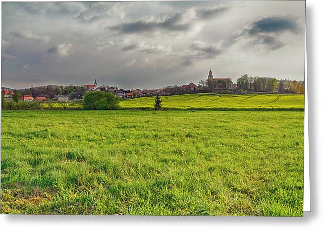 Field. Cloud Greeting Cards - Fields Of Rapeseed In Lower Silesia Greeting Card by Panoramic Images