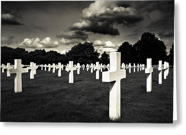 War Dead Greeting Cards - Fields Of The Lost - American Cemetery At Cambridge Greeting Card by Mark Tisdale