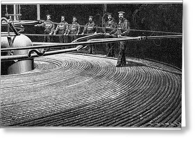Field's Trans-atlantic Cable Greeting Card by Cci Archives