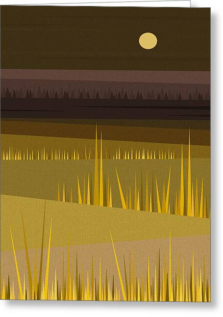 Olive Green Digital Art Greeting Cards - Fields Greeting Card by Val Arie
