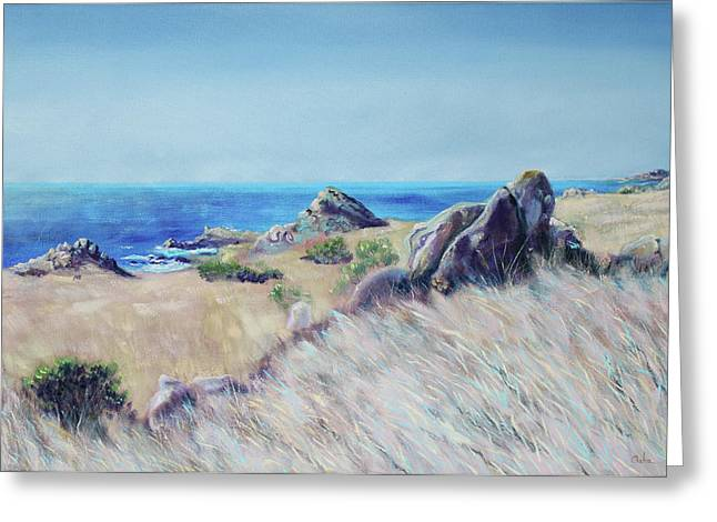 Fields With Rocks And Sea Greeting Card by Asha Carolyn Young