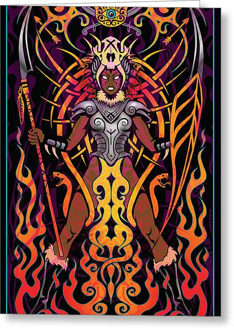 Warrior Goddess Digital Art Greeting Cards - Fierce Greeting Card by Cristina McAllister