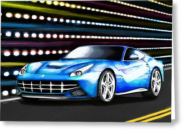 Blur Drawings Greeting Cards - Fierce Ferrari Greeting Card by Ginger Guillot