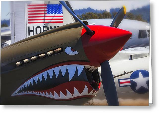 Nose Art Greeting Cards - Fierce Tiger Greeting Card by Garry Gay