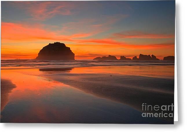 Fiery Bandon Beach Greeting Card by Adam Jewell