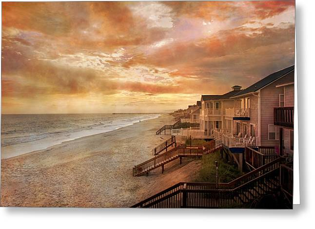 Sea View Photographs Greeting Cards - Fiery Calm Coastal Sunset Greeting Card by Betsy C  Knapp