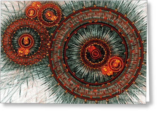 Abstract Digital Greeting Cards - Fiery  clockwork Greeting Card by Martin Capek