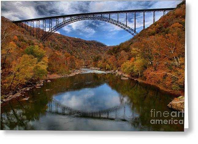 Famous Bridge Greeting Cards - Fiery Colors At New River Gorge Bridge Greeting Card by Adam Jewell