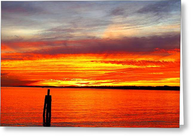 Fiery Fall Sunset Greeting Card by Stephen Melcher