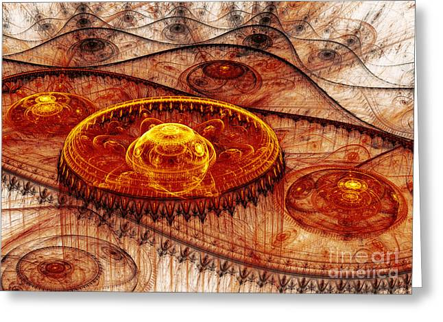 Mechanism Greeting Cards - Fiery fantasy landscape Greeting Card by Martin Capek