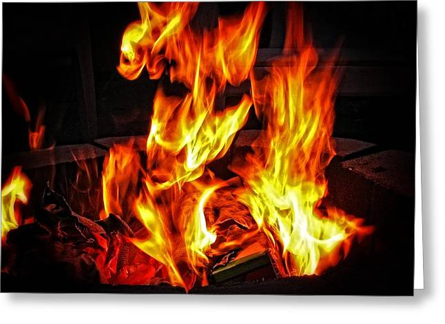 Engulfing Greeting Cards - Fiery Flames Greeting Card by Roger Reeves  and Terrie Heslop
