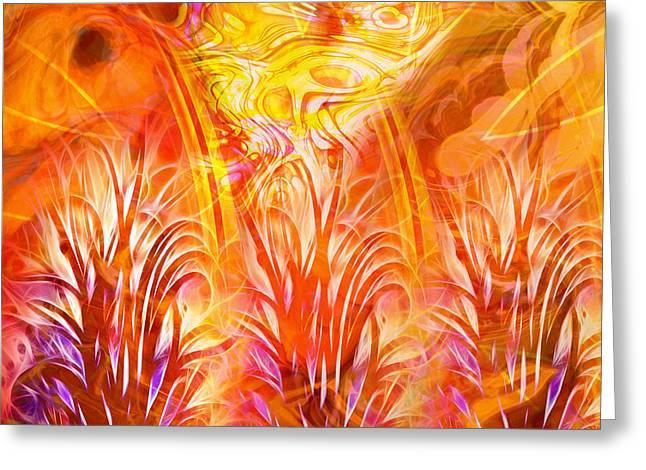 Fiery Fractal Greeting Card by Lutz Baar
