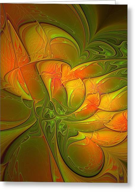 Apophysis Digital Art Greeting Cards - Fiery Glow Greeting Card by Amanda Moore