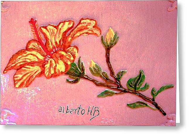 Blossom Reliefs Greeting Cards - Fiery Hibiscus Greeting Card by Alberto H-B