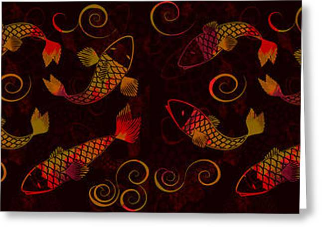 Decorative Fish Greeting Cards - Fiery Koi - Pannel Greeting Card by Andrea Ribeiro