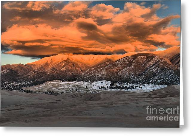 Large Sand Dunes Greeting Cards - Fiery Mountain Caps Greeting Card by Adam Jewell