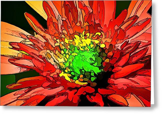 Floral Digital Art Digital Art Greeting Cards - Fiery Mum Greeting Card by Bill Caldwell -        ABeautifulSky Photography