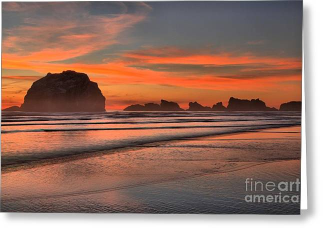 Fiery Ripples In The Surf Greeting Card by Adam Jewell