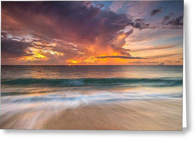 Rincon Beach Photographs Greeting Cards - Fiery Skies Azure Waters Rendezvous Greeting Card by Photography  By Sai
