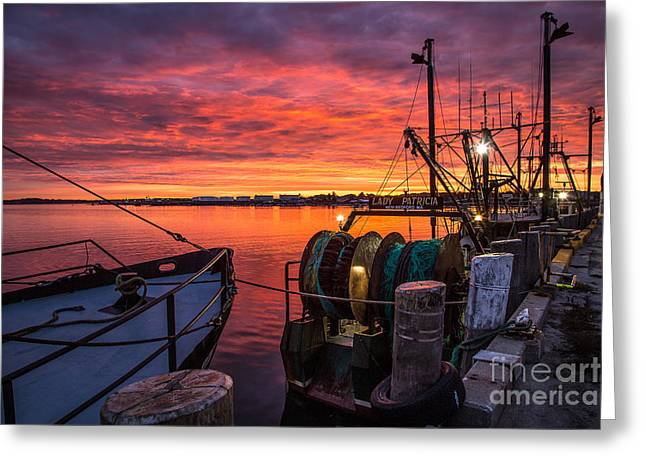 Ocean Art Photography Greeting Cards - Fiery Sky over Portland Harbor Greeting Card by Benjamin Williamson