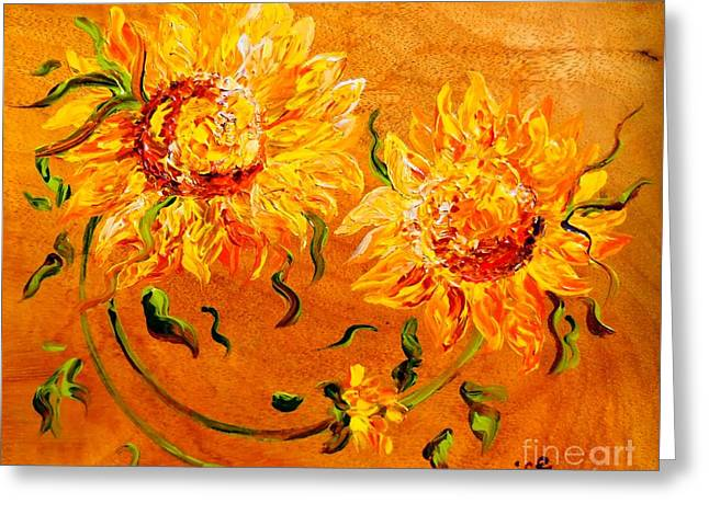 Whimsical Greeting Cards - Fiery Sunflowers on Wood Greeting Card by Eloise Schneider
