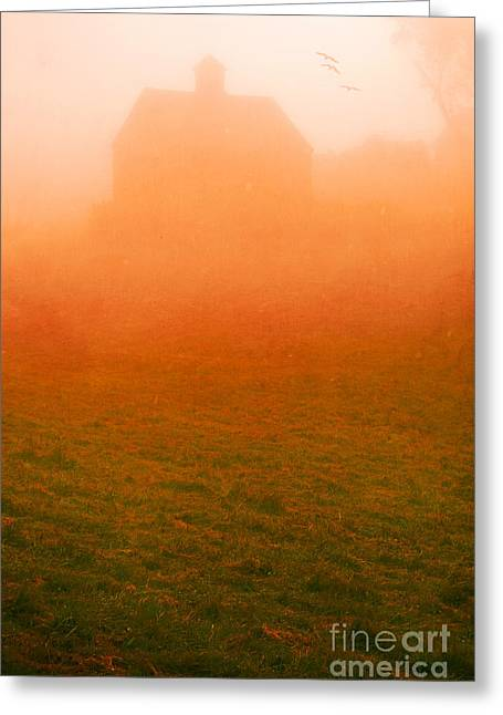 Color Green Greeting Cards - Fiery Sunrise on the farm Greeting Card by Edward Fielding