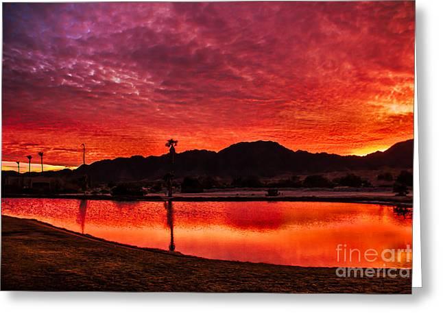 Yuma Greeting Cards - Fiery Sunrise Greeting Card by Robert Bales