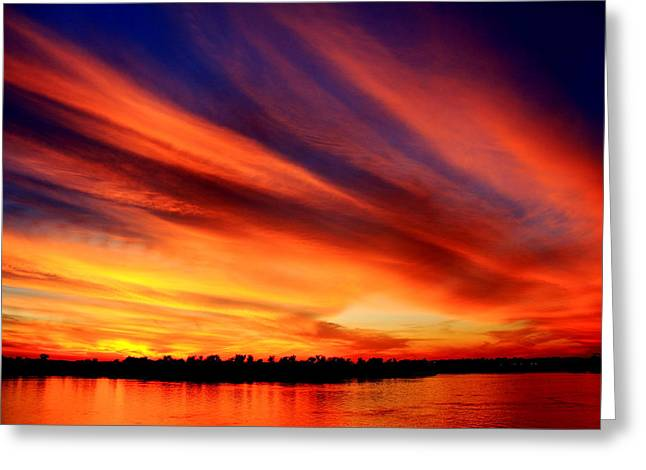 Southern Indiana Autumn Photographs Greeting Cards - Fiery Sunset Greeting Card by Andrea Kappler