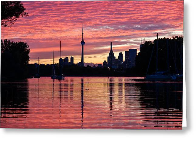 Boats On Water Greeting Cards - Fiery Sunset - Downtown Toronto Skyline with Sailboats Greeting Card by Georgia Mizuleva