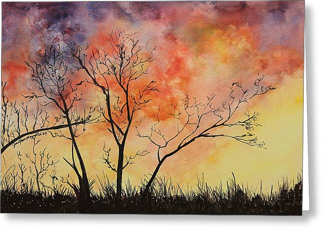 Pancho Greeting Cards - Fiery Sunset Painting Greeting Card by Janet Pancho Gupta